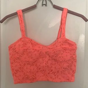 Pink/Coral Crochet Lace Bralette Style Top